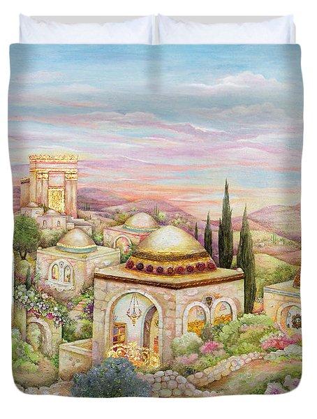Jerusalem Landscape Duvet Cover by Michoel Muchnik