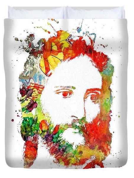 Jesus Christ - Watercolor Duvet Cover by Doc Braham