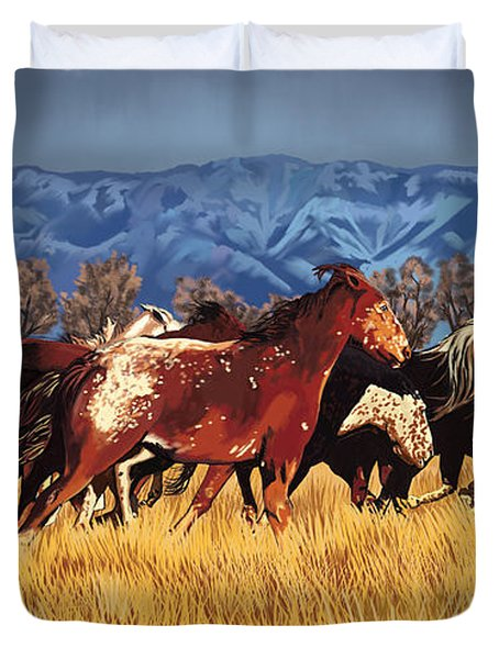 Duvet Cover featuring the painting Joe's Horses by Tim Gilliland