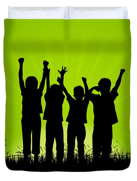 Jumping Kids Duvet Cover by Aged Pixel