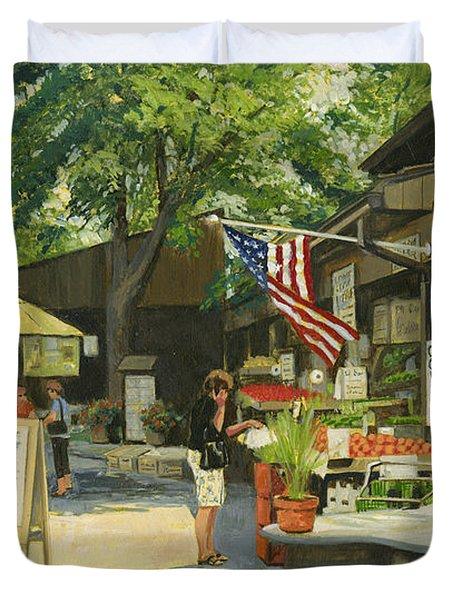 Kirkwood Farmers Market American Flag Duvet Cover by Don  Langeneckert