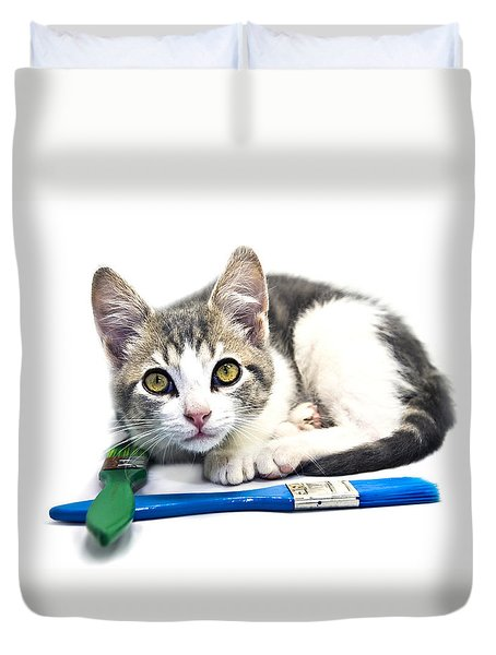 Kitten With Paint Brushes Duvet Cover