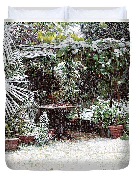La Neve Sotto La Topia Duvet Cover by Guido Borelli