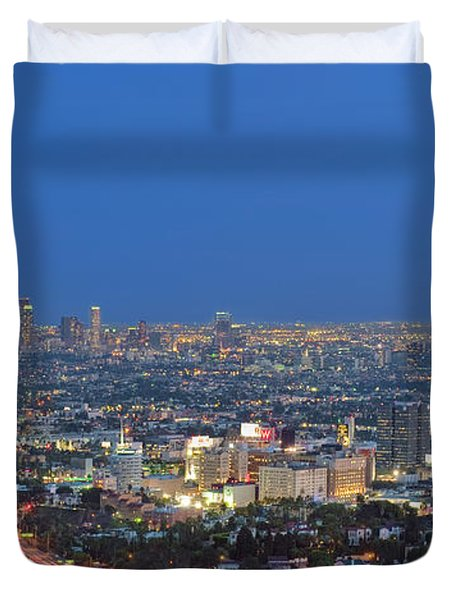 L.a. Skyline Los Angeles Ca Cityscape Night Dusk Lit Lights On 3 Duvet Cover