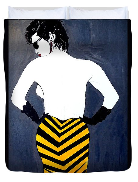 Duvet Cover featuring the painting Lady In Stripes by Nora Shepley