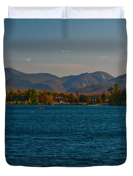 Lake Placid And The Adirondack Mountain Range Duvet Cover by Brenda Jacobs