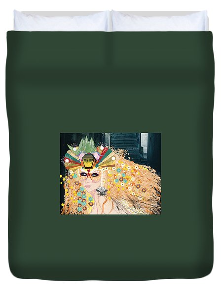 Duvet Cover featuring the digital art Lantern Fairy by Kim Prowse