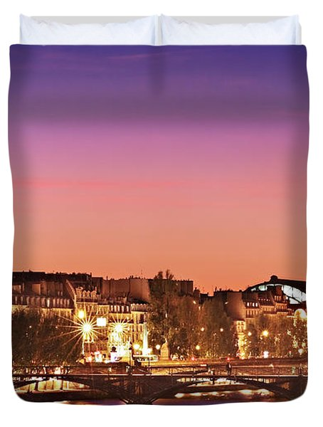 Left Bank At Night / Paris Duvet Cover
