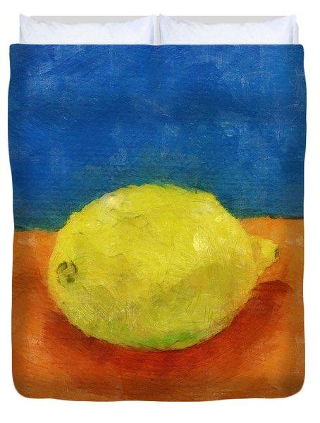 Lemon With Blue And Orange Duvet Cover