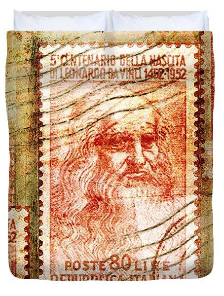 Leonardo Da Vinci 1952 Italian Stamp Duvet Cover