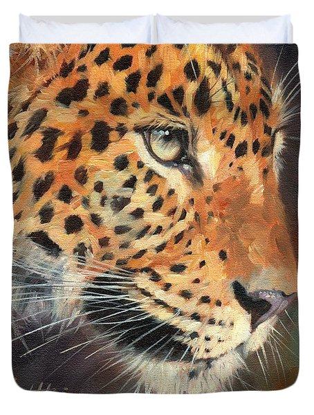 Leopard Duvet Cover by David Stribbling