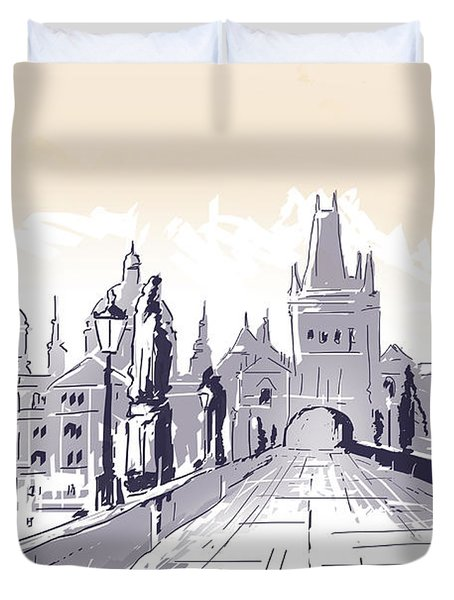 Lesser Town Bridge Tower Drawing Czech Republic Duvet Cover