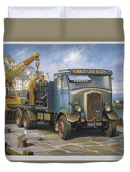 Leyland Hippo At Brixham. Duvet Cover by Mike  Jeffries