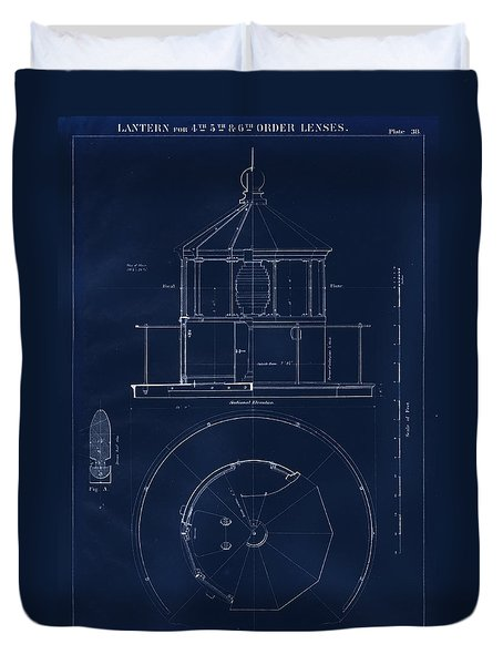 Lighthouse Lantern Drawing Duvet Cover by Jerry McElroy