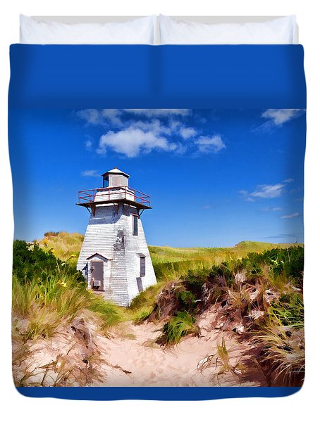 Lighthouse On The Dunes Duvet Cover by Dan Dooley