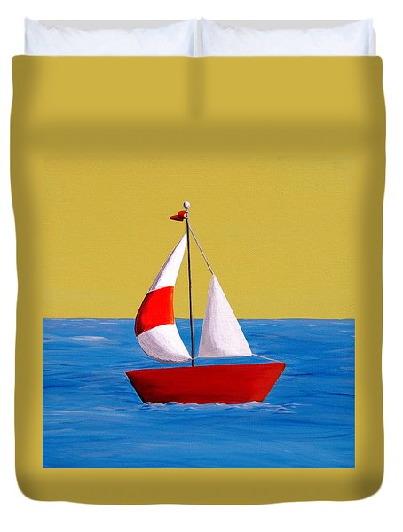 Lil Sailboat Duvet Cover by Cindy Thornton