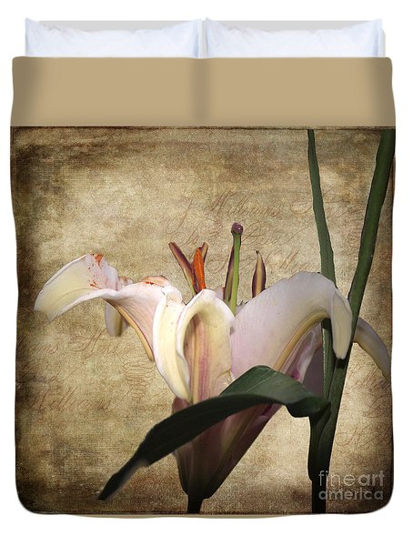 Duvet Cover featuring the photograph 1 Lily 1 Beauty by Irma BACKELANT GALLERIES