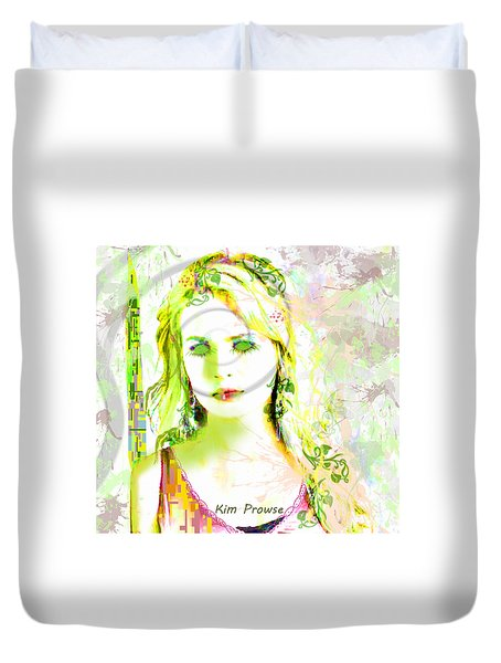Duvet Cover featuring the digital art Lily Lime by Kim Prowse