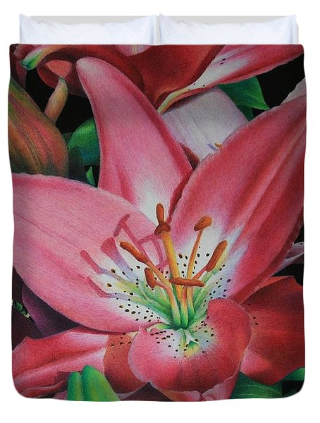 Duvet Cover featuring the painting Lily's Garden by Pamela Clements