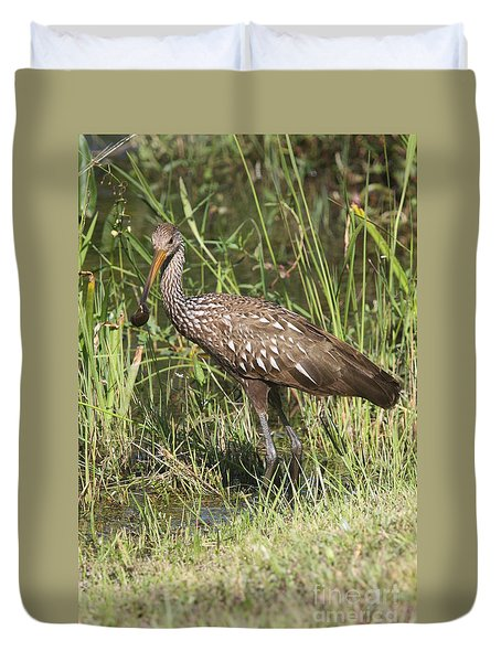Duvet Cover featuring the photograph Limpkin In The Glades by Christiane Schulze Art And Photography