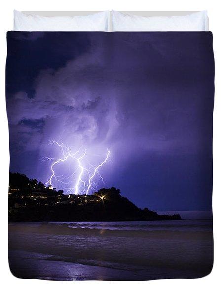 Lightning Over The Ocean Duvet Cover