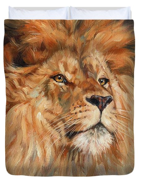 Lion Duvet Cover by David Stribbling