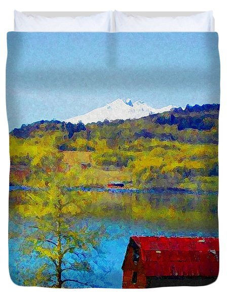 Little Barn By The Lake Duvet Cover by Lenore Senior and Constance Widen