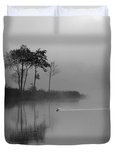 Loch Ard Trees In The Morning Mist Duvet Cover