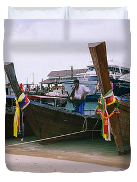 Longtail Boats Moored On The Beach, Ton Duvet Cover