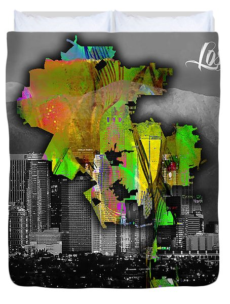 Los Angeles Map And Skyline Watercolor Duvet Cover by Marvin Blaine
