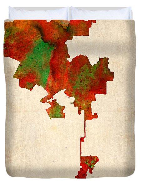 Los Angeles Watercolor Map Duvet Cover