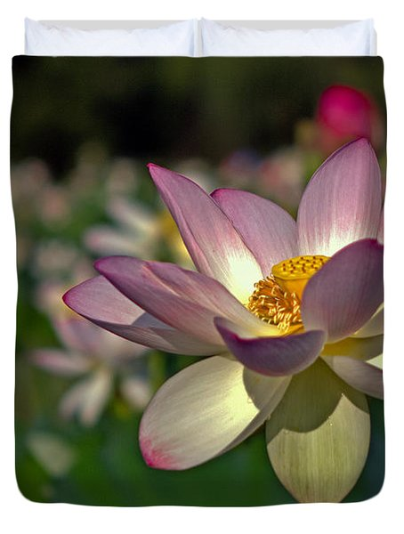 Duvet Cover featuring the photograph Lotus Flower by Jerry Gammon