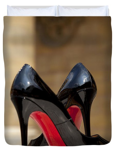 Duvet Cover featuring the photograph Louboutin Heels by Brian Jannsen