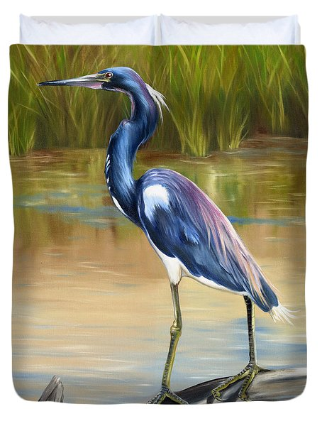 Louisiana Heron Duvet Cover by Phyllis Beiser