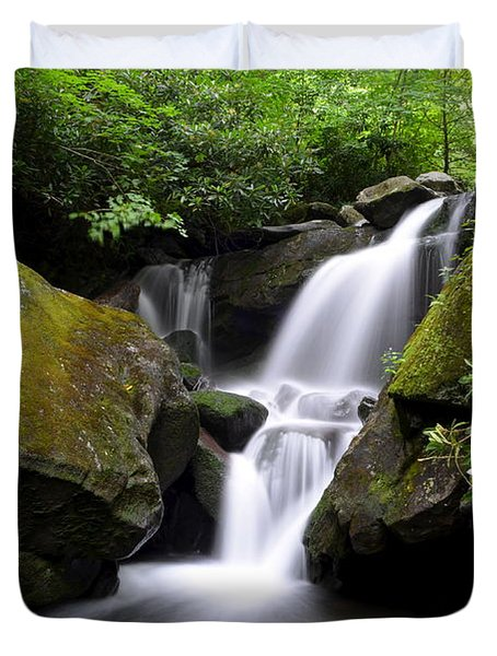 Lower Grotto Falls Duvet Cover by Frozen in Time Fine Art Photography