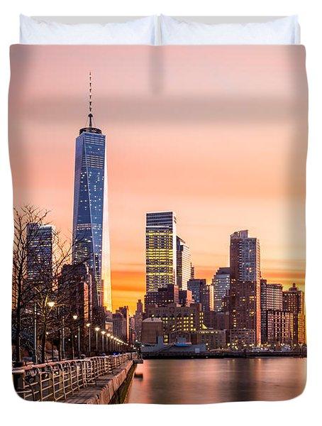 Lower Manhattan At Sunset Duvet Cover