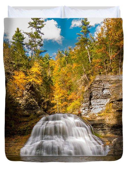 Lower Treman Falls Duvet Cover
