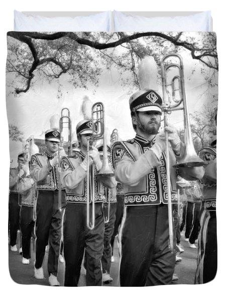 Lsu Marching Band Vignette Duvet Cover by Steve Harrington