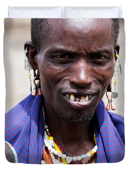 Maasai Man Portrait In Tanzania Duvet Cover by Michal Bednarek