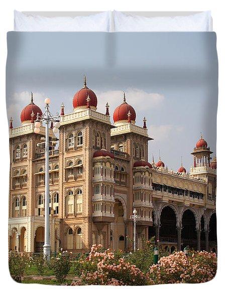 Maharaja's Palace And Garden India Mysore Duvet Cover by Carol Ailles
