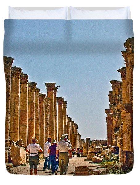 Main Colonnaded Street In Greco-roman City Of Jerash In Jordan Duvet Cover
