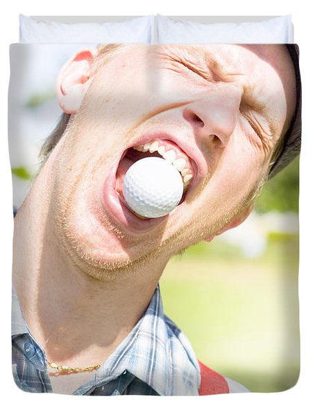 Man Catches Golf Ball In Mouth Duvet Cover