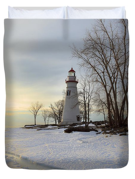 Marblehead Lighthouse Winter Sunrise Duvet Cover