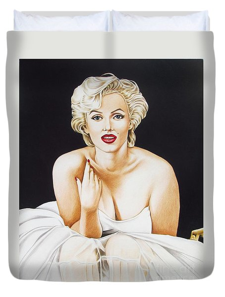 Marilyn In White Duvet Cover by Joseph Sonday