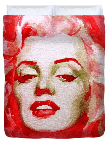 Duvet Cover featuring the painting Marilyn by Laur Iduc