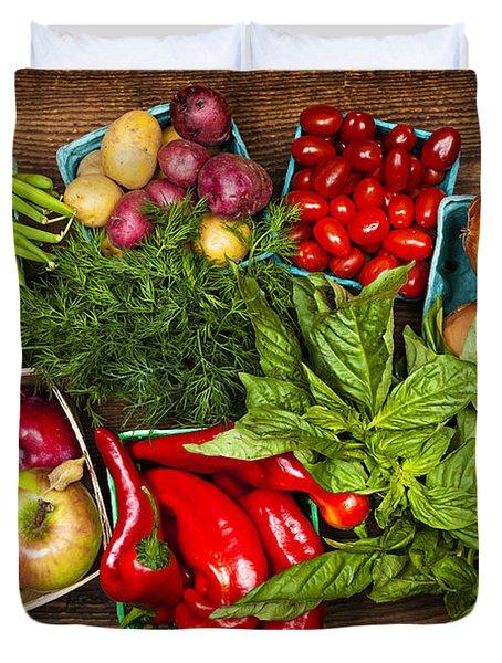 Market Fruits And Vegetables Duvet Cover