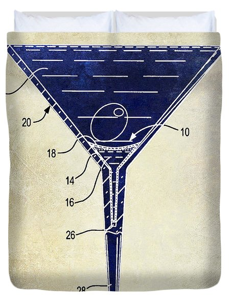 Martini Glass Patent Drawing Two Tone  Duvet Cover