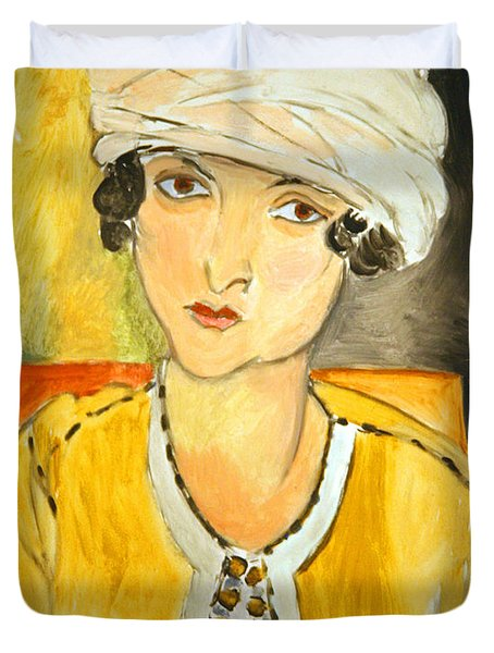 Matisse's Lorette With Turban And Yellow Jacket Duvet Cover