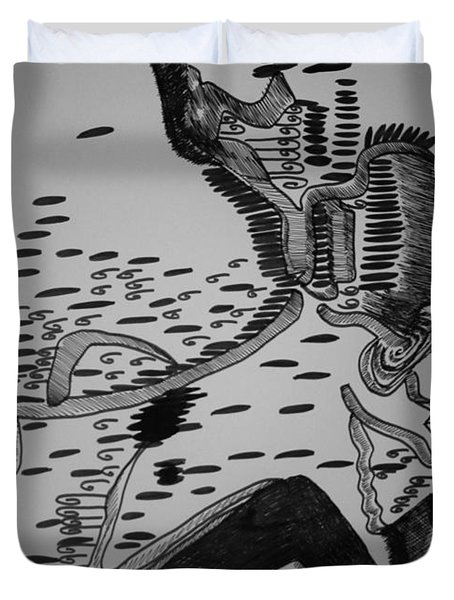 Duvet Cover featuring the drawing Mbakumba Dance - Zimbabwe by Gloria Ssali