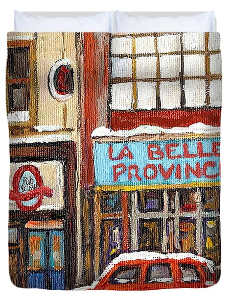 Mcleans Irish Pub Montreal Duvet Cover by Carole Spandau
